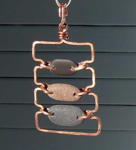 Wire Wrap pendant with horizontal stones & copper wire - Rustic Copper And Stone Pendant