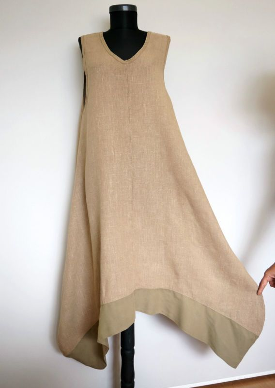 Completo Lino by Arthurio Beige 100% Linen Asymmetric Lagenlook Dress, Size:M
