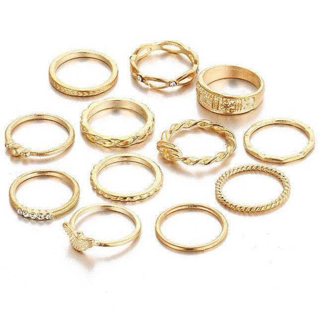 12 PC/Set Charm Gold Color Midi Finger Rings
