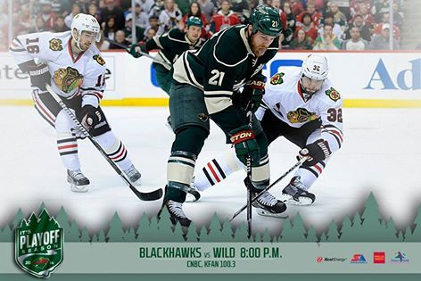 Minnesota Wild  Back home! The Wild hosts the Blackhawks at 8 p.m. on CNBC and KFAN FM 100.3 at Xcel Energy Center.