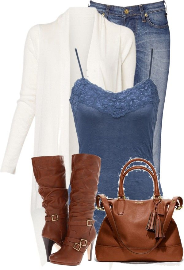 """White Cardigan"" by denise-schmeltzer ❤ liked on Polyvore"
