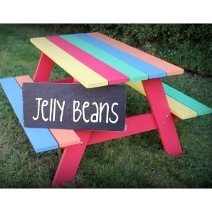 """""""Jelly Beans"""" Children's Picnic Table.  Would love this for the kids."""