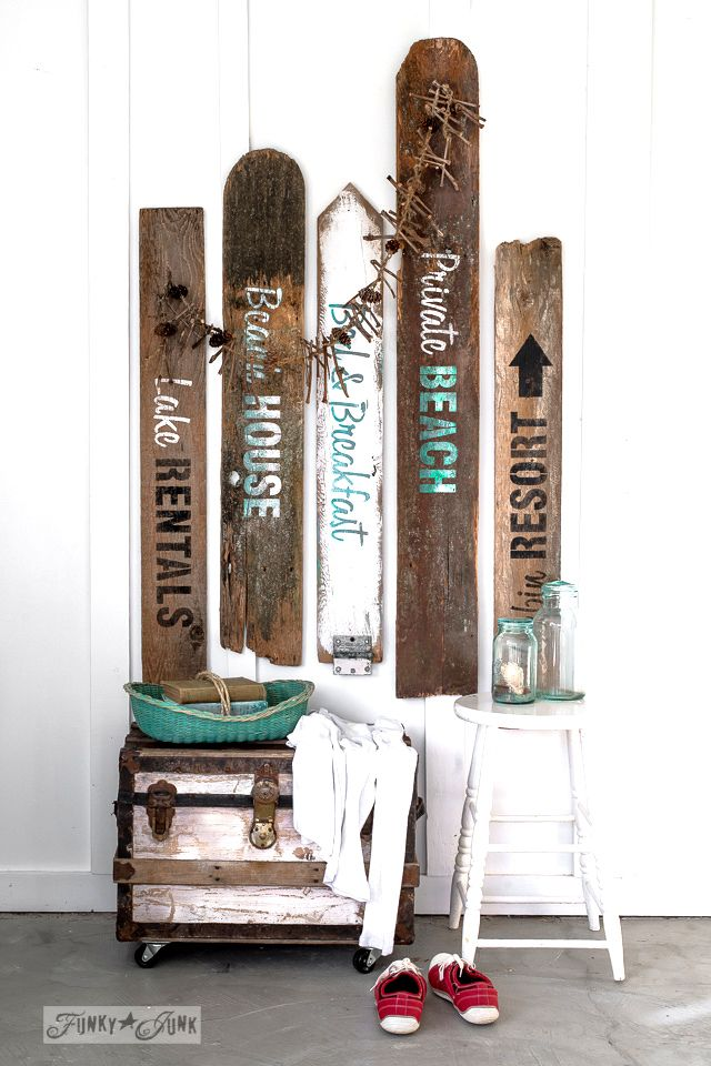 Love summer themed old signs? Here's how to make your own rustic beach, lake, and bed & breakfast signs out of reclaimed wood, using Funky Junk's Old Sign Stencils.