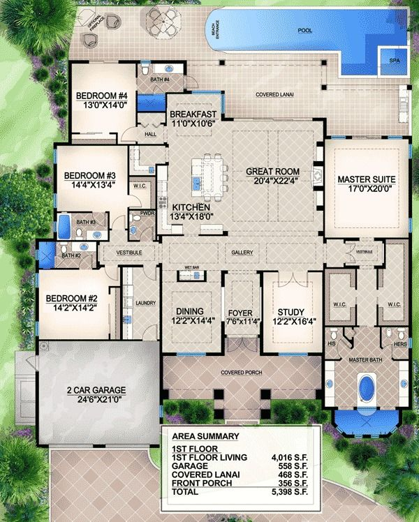 Grand Southern Home Plan - 65612BS | 1st Floor Master Suite, Butler Walk-in Pantry, CAD Available, Den-Office-Library-Study, European, Florida, Luxury, PDF, Photo Gallery, Premium Collection, Southern, Split Bedrooms | Architectural Designs