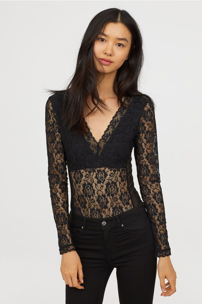 306d0d0ba3 H&M Long-sleeved Lace Bodysuit - Black | Work Attire | Lace bodysuit ...
