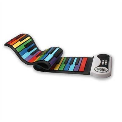 Rock out, then roll it up! Rainbow colored, flexible, completely portable piano by MukikiM with 49 standard keys. Features : ?Play-By Color song booklet ?Multiple Keyboard Tones ?Multiple Demo Songs ?Echo/Sustain ?Record & Playback ?Built In Speaker w/auxiliary capabilities(headphones or external speaker) ?Powered by USB (cord included!) OR batteries ?Completely portable - take it with you and play ANYWHERE! ?Power saving mode activates when not in use ?Realistic Sounds Specifications: ?K...