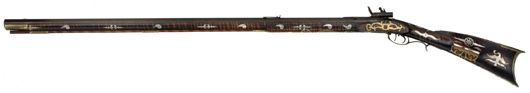 Silver mounted Kentucky flintlock rifle by J.B. Maus. Estimate $50,000-$75,000. Image courtesy Cowan's Auctions Inc.