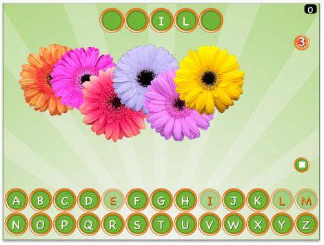 APP WOORDEN RADEN: Galgje op de tablet. Kinderen moeten letters aanduiden. Als ze in het woord voorkomen, verschijnen ze. Als ze niet in het woord voorkomen, gaat een bloem weg. Kunnen ze het woord raden voordat alle bloemen weg zijn?