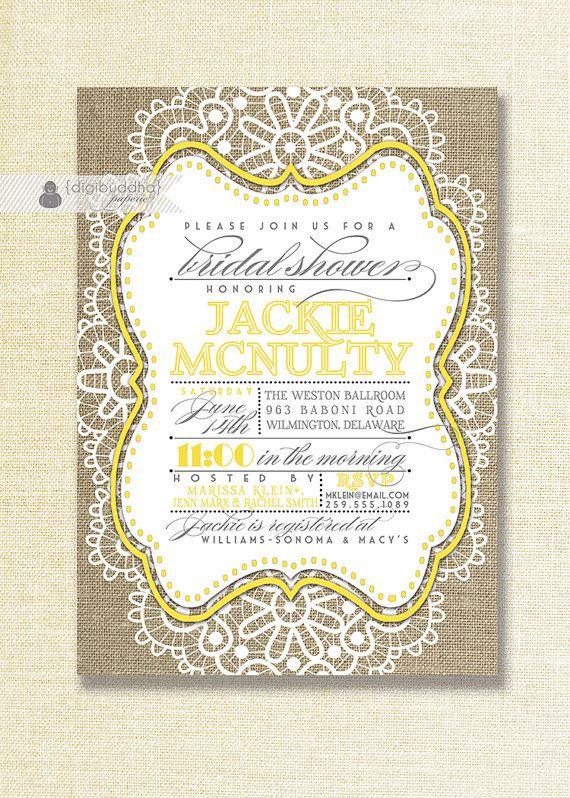 Yellow Lace Burlap Bridal Shower Invitation Linen Pastel