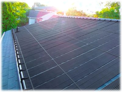 A Sample Installation Of The Enersol Solar Pool Panels On A Sloped Asphalt  Roof