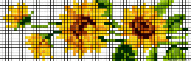 Free Sunflowers Cross Stitch Bookmark... no color chart available, just use the pattern chart as your color guide.. or choose your own colors...