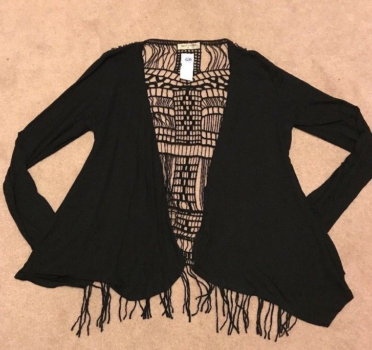 Bear Dance Black Blouse Size Med Sheer Lace Back Long Sleeve Tops