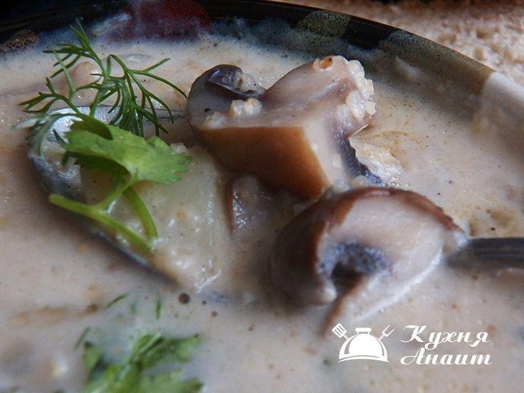 Молочный суп с грибами Портобелло