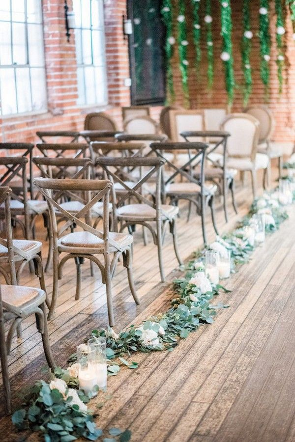 chic rustic wedding aisle decoration ideas with greenery floral