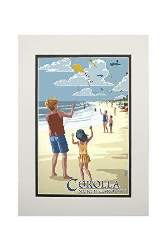 Corolla, North Carolina - Kite Flyers (11x14 Double-Matted Art Print, Wall Decor Ready to Frame)