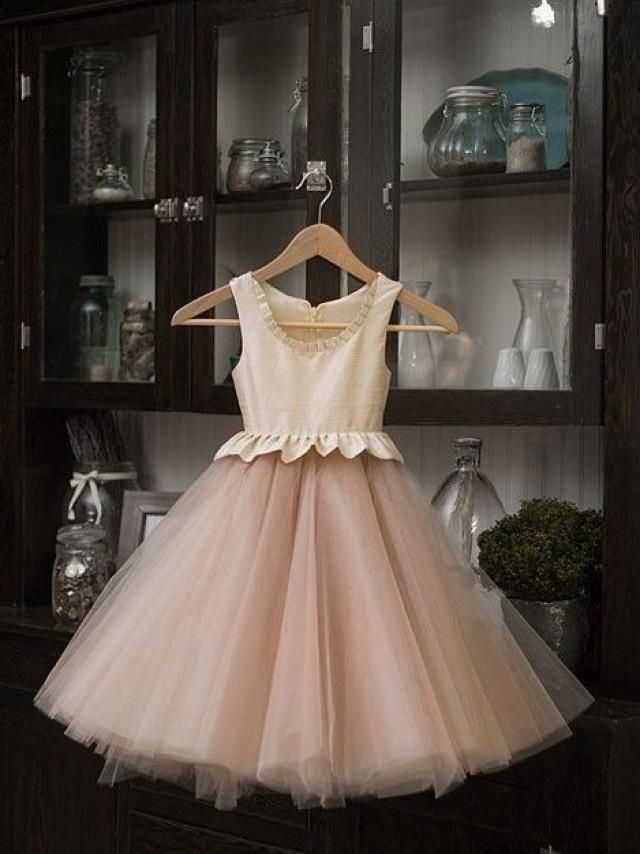 Nude flower girl dress - My wedding ideas flowergirl