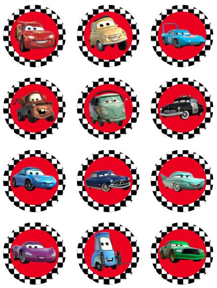 Disney cars cupcake toppers favor tags stickers digital download 1 inch circles images labels pdf instant printable by printablespalace on Etsy