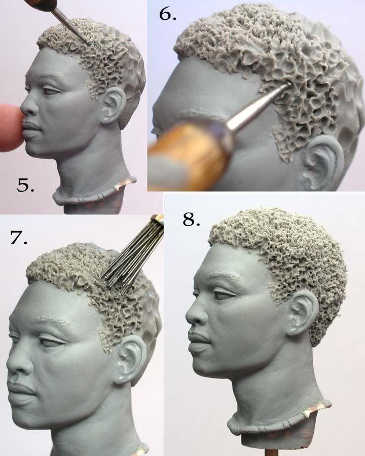 Sculpting Tutorialsחלק 2 איך לעצב שיער מקורזל- מקלות עיצוב עם ראש עגול מסמרים ומחורר