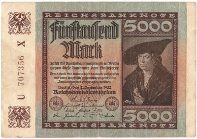 German 1922 5000 Mark Reichsbanknote , German Inflation Banknote
