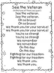 Veterans Day song to the tune of Frere Jacques
