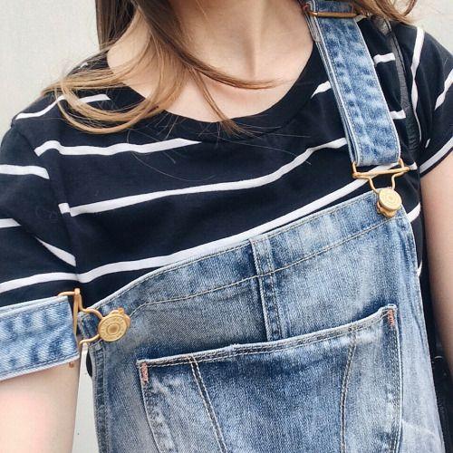 stripes + denim overalls