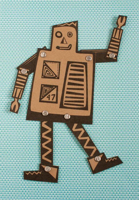 Papieren poppen DIY kit Robots 3 kraft karton door Heedopter