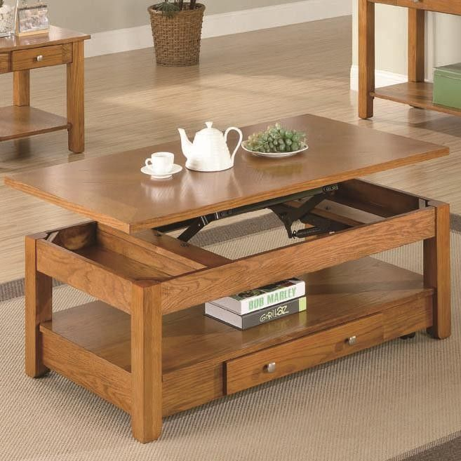 Coaster 701438 Lift Top Oak Coffee Table With Storage Drawer And Shelf Main Image