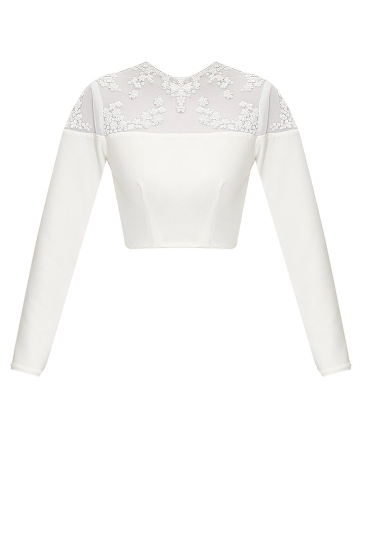 Ivory snowflake beaded crop top available only at Pernia's Pop-Up Shop.