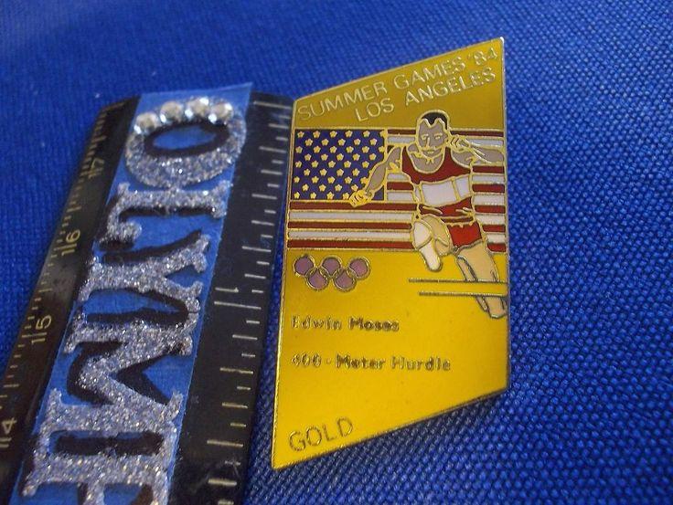 1984 Los Angeles Olympic Souvenir Pin Edwin Moses Gold Medal 400m Hurdles
