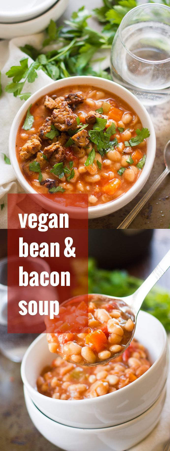 This creamy bean soup cooks up hands-free in the slow cooker and gets topped with a sprinkling of smoky tempeh bacon.