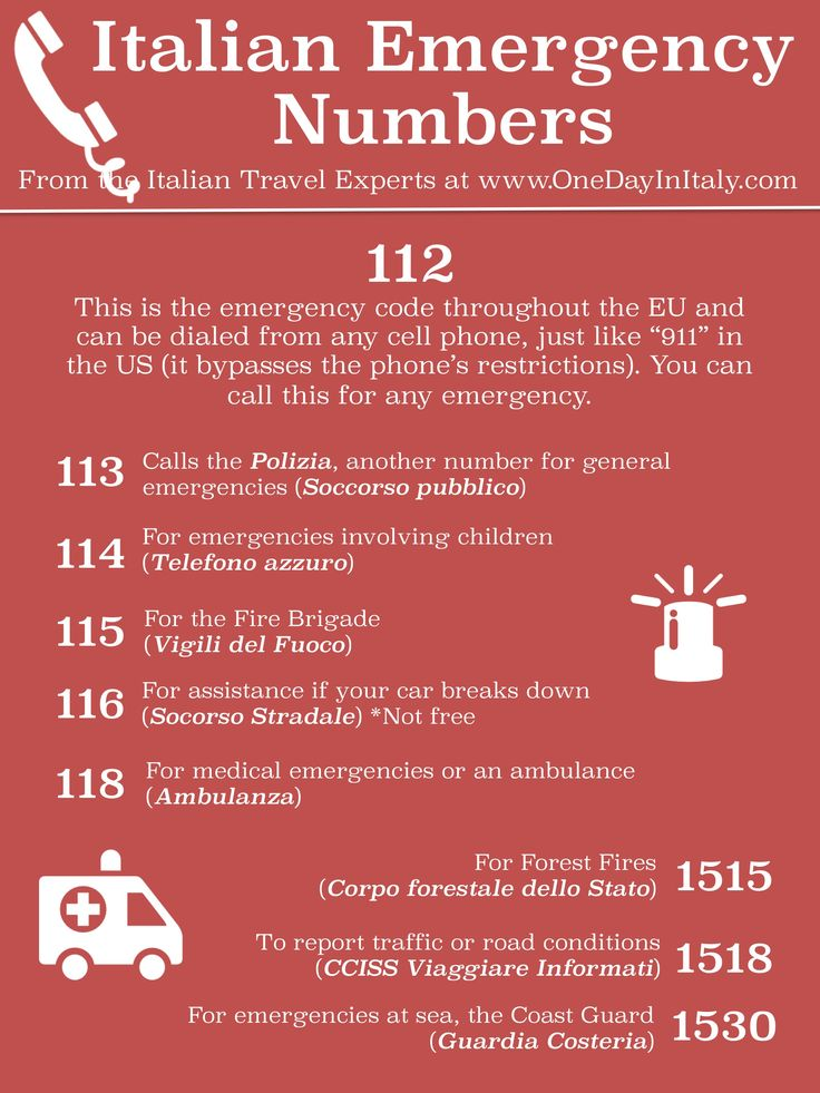 Emergency Numbers for your Italian Vacation   Let me help you plan your dream trip! Find out more at OneDayInItaly.com/plan-your-trip