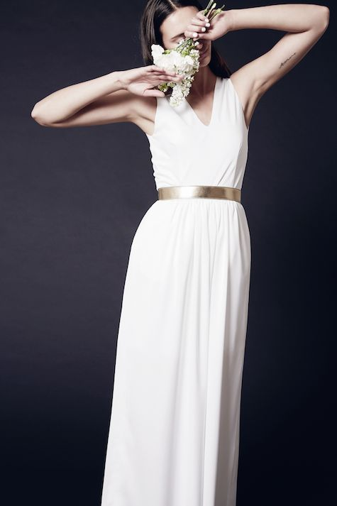 Bridal collection. Mix and match your perfect wedding dress! IVY-JANE in ivory with a classic leather belt in gold. Love is in the air.