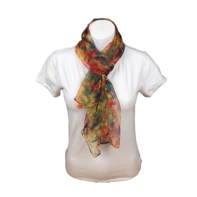 Hand dyed silk chiffon fashion scarf in red , green and yellow £15.00