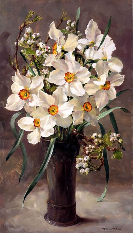 """White Narcissi"" - from the flower painting by Anne Cotterill. Giclée print on canvas, stretched on a wooden frame. Size 25.5cm x 46cm (10"" x 18""). From an original oil painting. Limited edition of 100. Supplied with certificate of authenticity signed on behalf of the Estate of Anne Cotterill. The painting depicts Pheasant Eye Narcissus with wild Cherry Blossom in a black vase."