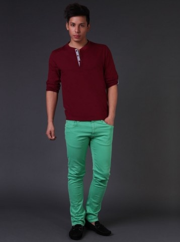 Stand out!  Wear green pants with a plum red henley, complete the look with black loafers and enter any place, you will stand out!