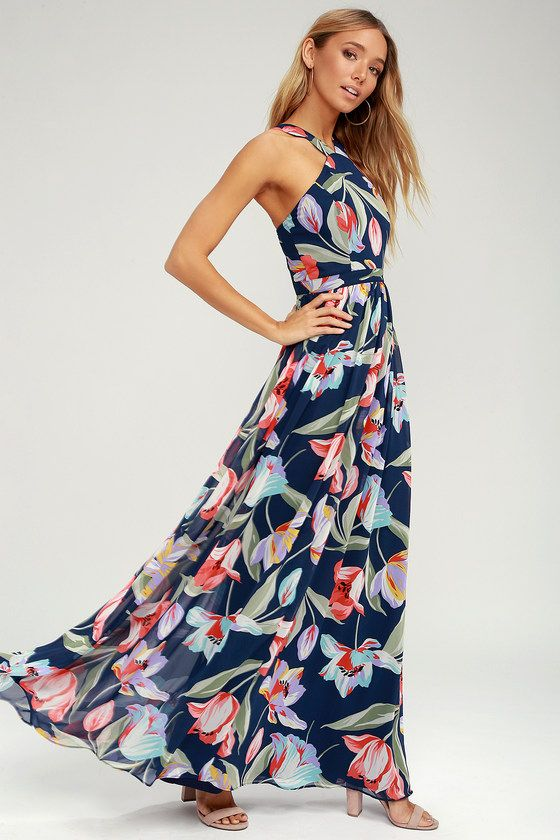 8d745249cc9 The Lilja Navy Blue Floral Print Maxi Dress is a real world wonderland! A  whimsical lilac