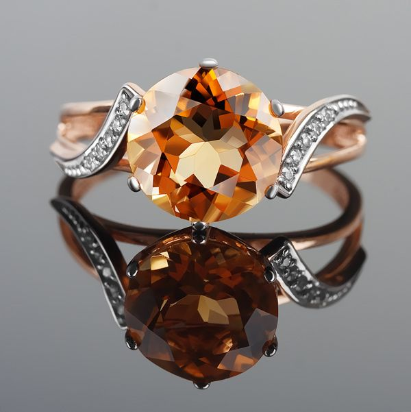 Кольцо, цитрин, золото, фианит, акрил
