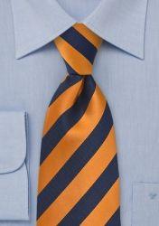 XXL-Krawatte Streifendessin dunkelblau orange günstig kaufen