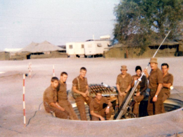 3 SAI, B coy, mortar section at Okatope, August 1980. From left to right - Unknown, Mathew, Ian, Ferreira, Marius, Kempen, De Beer and Doom.
