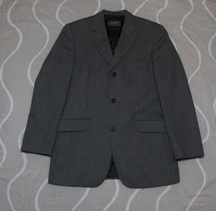 Mod Esprit VTG 80's-90's Grey Men's Pant suit Wool 3 button Single vent 40/42 #Esprit #ThreeButton