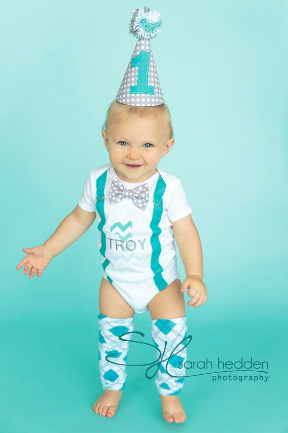 Cake Smash Baby Boy 1st Birthday Outfit Bodysuit by SewAdorbs, $24.00