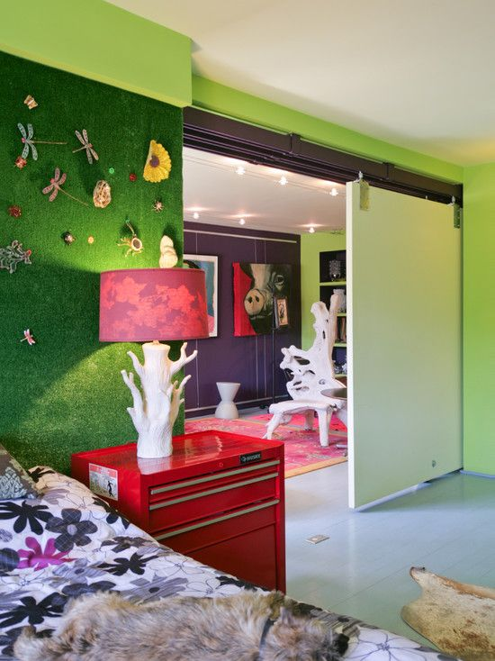 Artificial Grass In Bedroom Used On The Wall To Create A