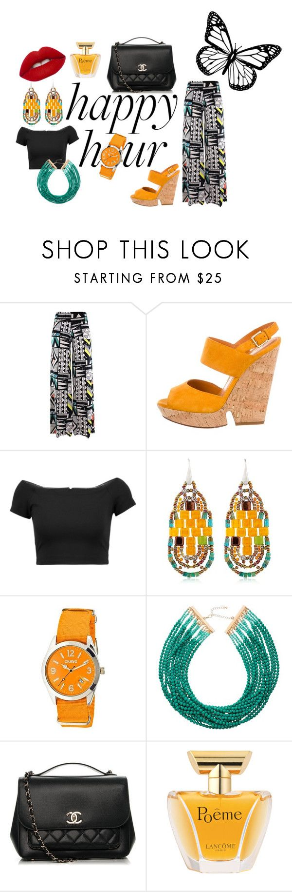 """#happyhour"" by hajer-bh ❤ liked on Polyvore featuring Yves Saint Laurent, Alice + Olivia, Ziio, Crayo, John Lewis, Chanel, Lancôme and Lime Crime"