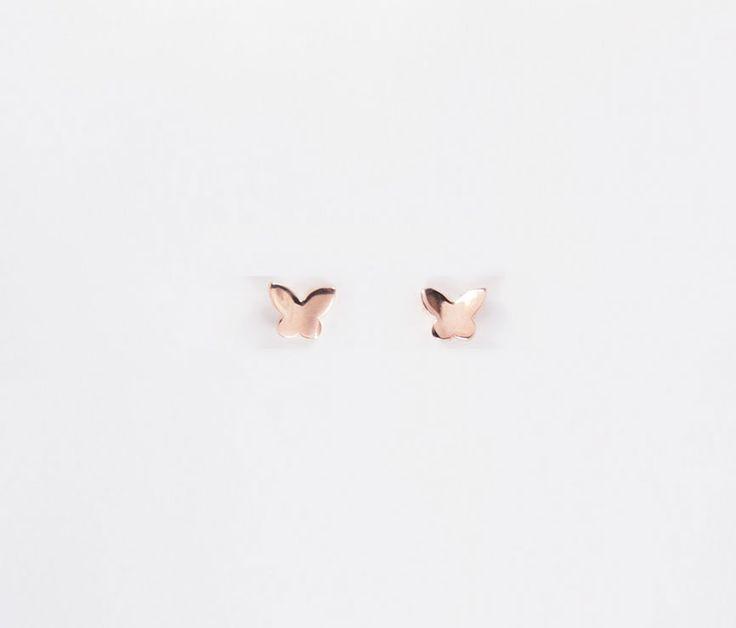 Cute Butterfly Ear Stud - Golden Eight