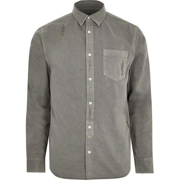 River Island Big and Tall grey denim distressed shirt ($38) ❤ liked on Polyvore featuring men's fashion, men's clothing, men's shirts, men's casual shirts, shirts, river island mens shirts, mens gray dress shirt, mens extra long sleeve shirts, mens distressed denim shirt and mens long sleeve shirts