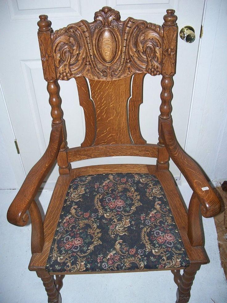 Quarter Sawn Oak Dinning Chairs Set Of Eight