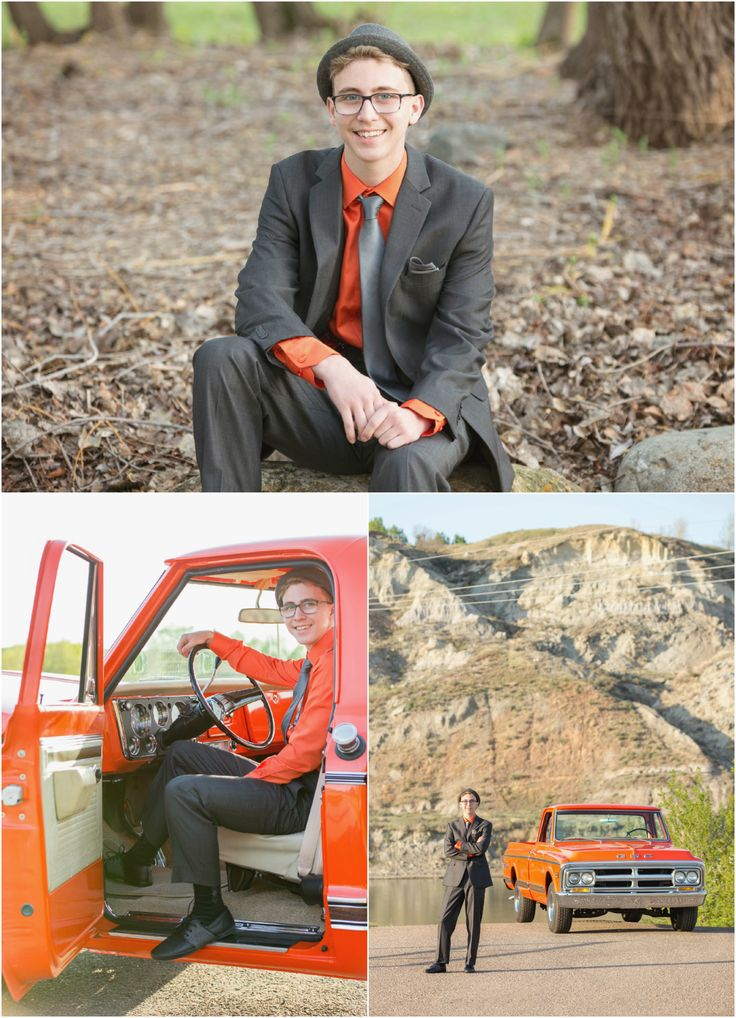 High School Graduation 2015 Highlights | Medicine Hat Photography.  Photo ideas for grad student in orange riding in an orange classic restored GMC truck. Taken by Woods Photography (CANADA).  #graduation #prom #photography