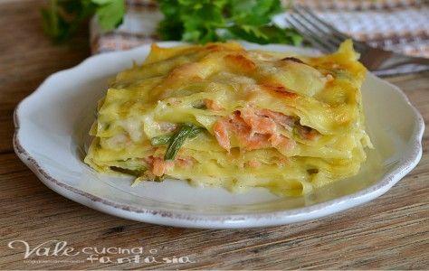 Lasagne con asparagi e salmone primo piatto
