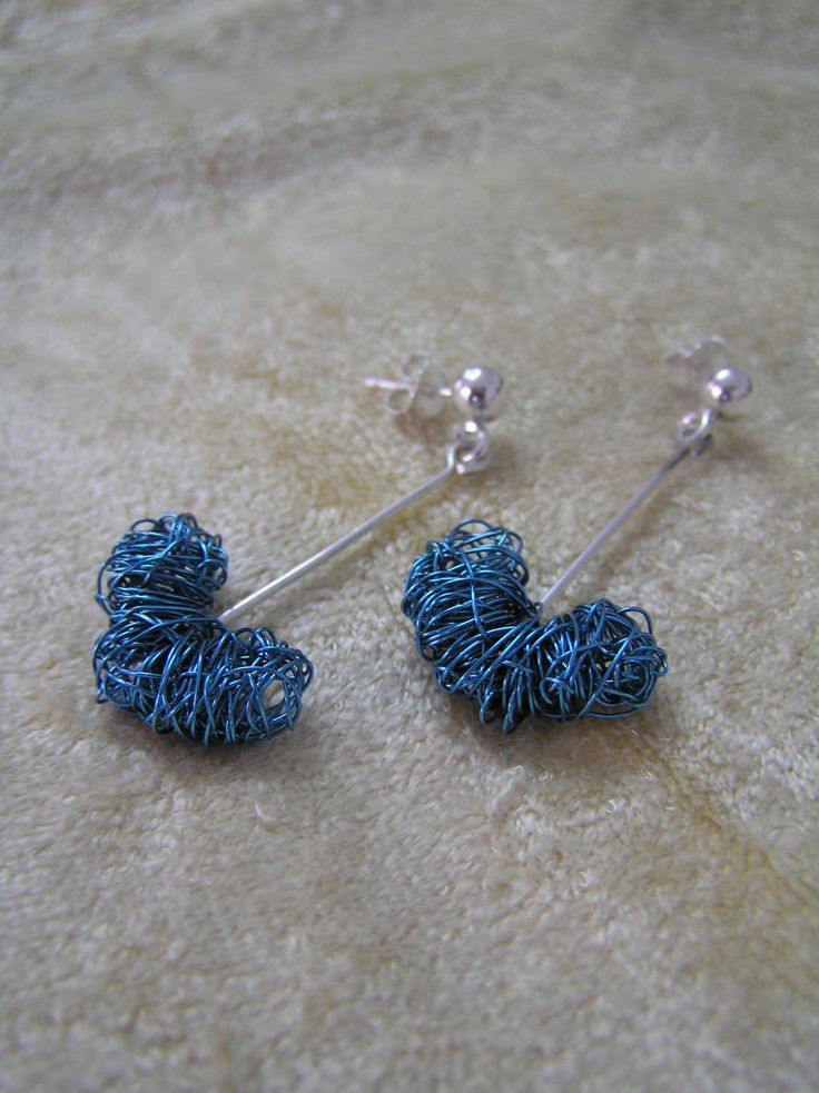 Silver earrings with blue hearts by StoneSeeds on Etsy