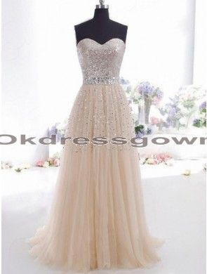 affordable champagne sweetheart long lace prom dress with sequins and rhinestones